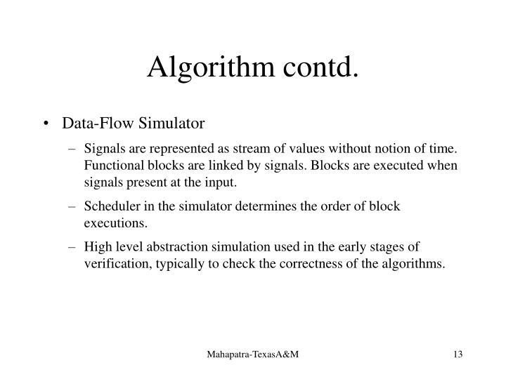 Algorithm contd.