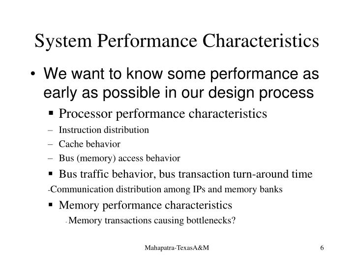 System Performance Characteristics