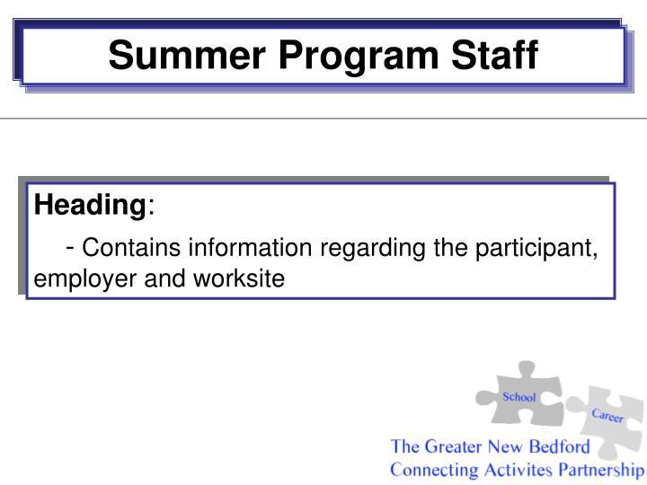 Summer Program Staff