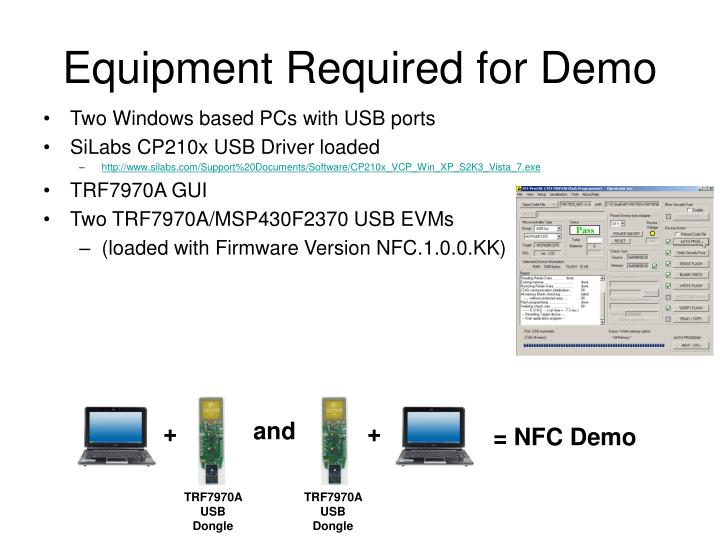Equipment required for demo