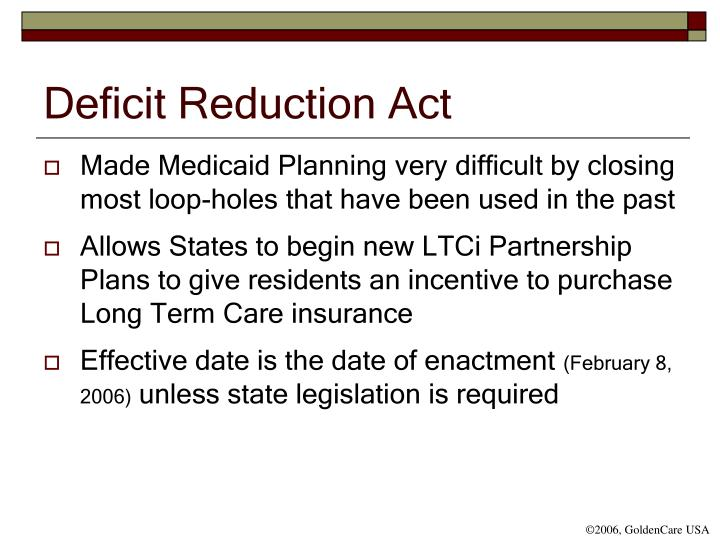 Deficit reduction act
