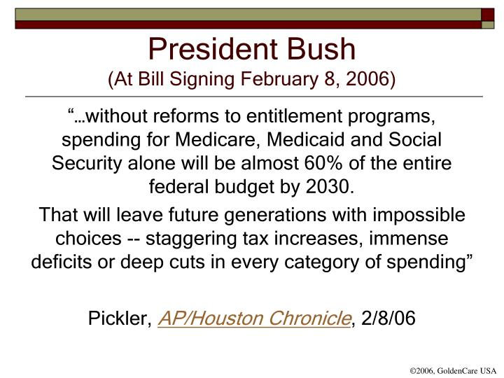 President bush at bill signing february 8 2006