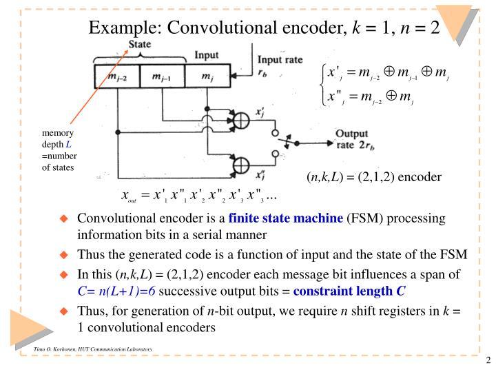 Example: Convolutional encoder,