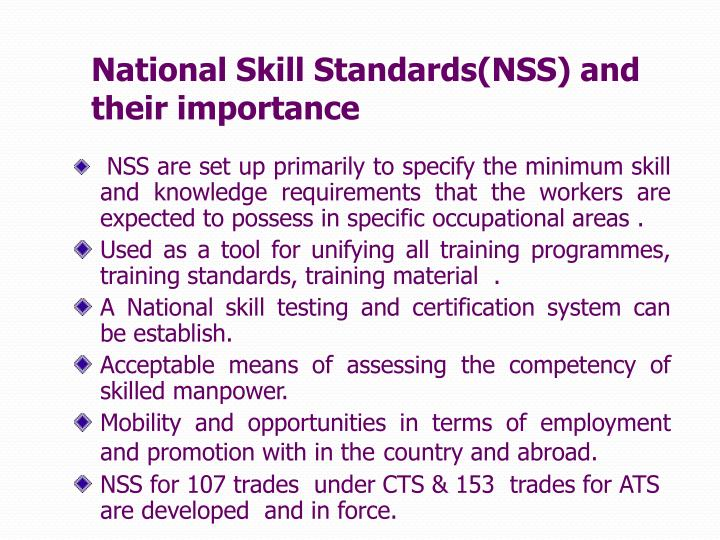 National Skill Standards(NSS) and their importance