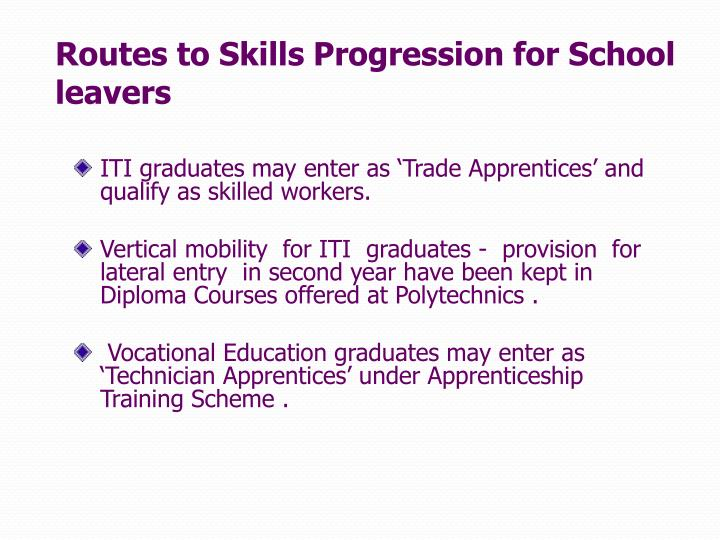 Routes to Skills Progression for School leavers