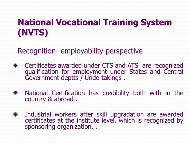 National Vocational Training System (NVTS)