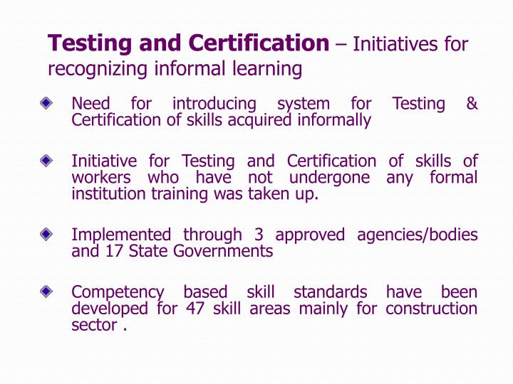 Testing and Certification