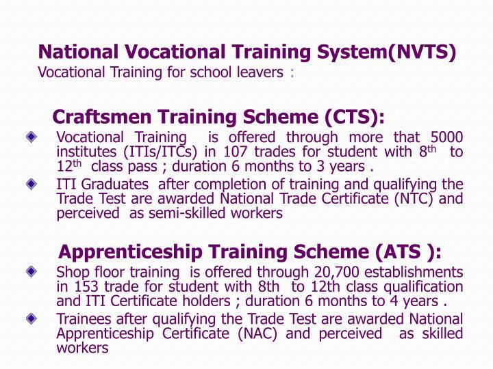 National Vocational Training System(NVTS)