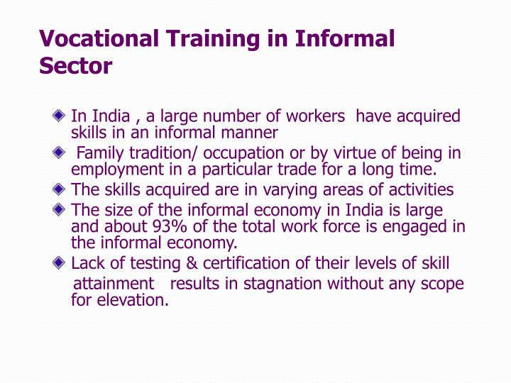 Vocational Training in Informal Sector