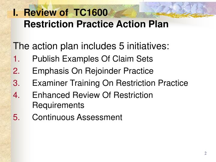 I review of tc1600 restriction practice action plan1