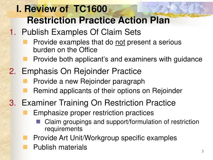 I review of tc1600 restriction practice action plan2