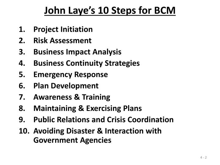 John laye s 10 steps for bcm