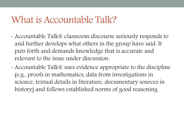 What is Accountable Talk?