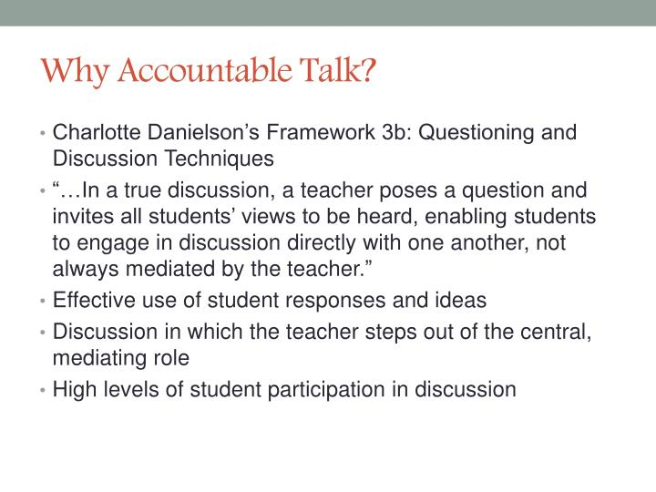 Why Accountable Talk?