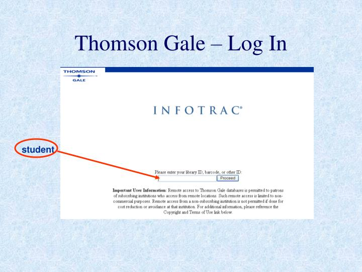 Thomson Gale – Log In