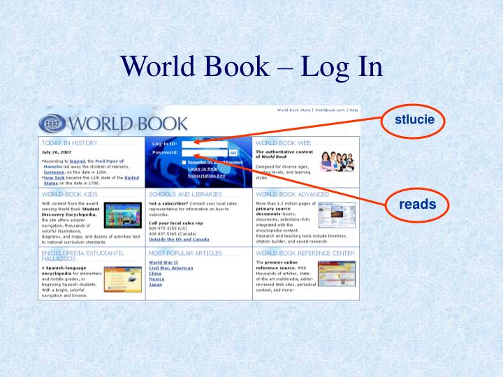 World Book – Log In