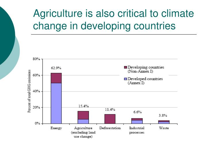 Agriculture is also critical to climate change in developing countries