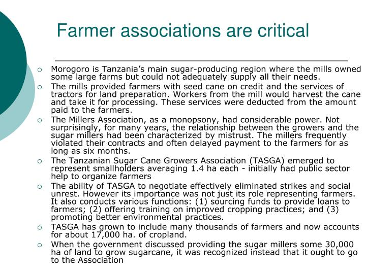 Farmer associations are critical