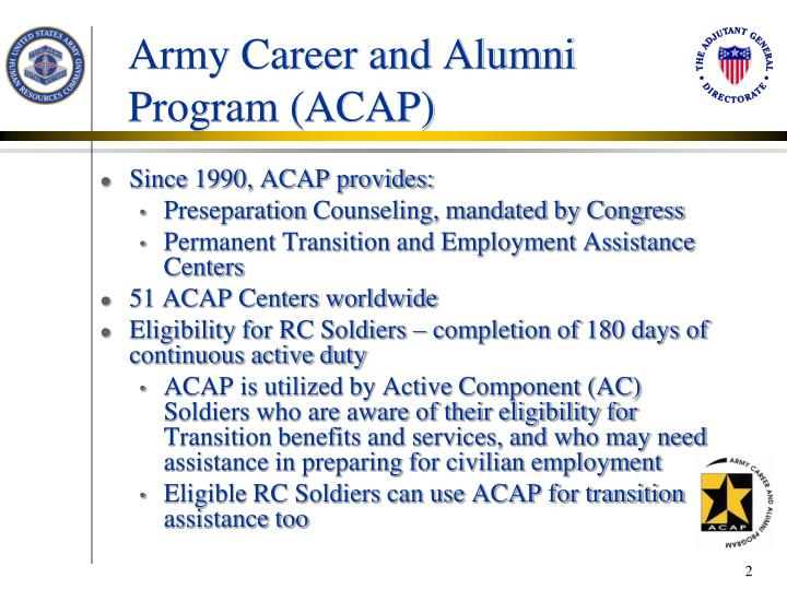 Army career and alumni program acap