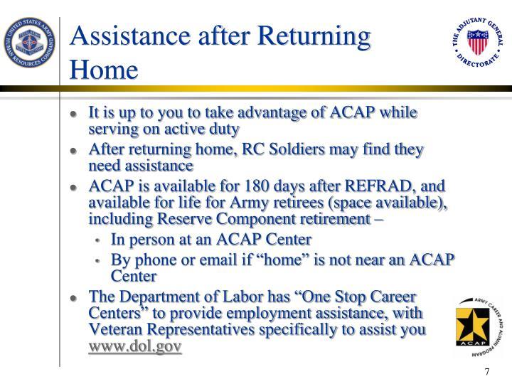 Assistance after Returning Home