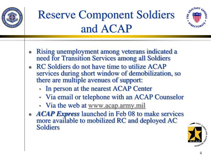 Reserve Component Soldiers and ACAP