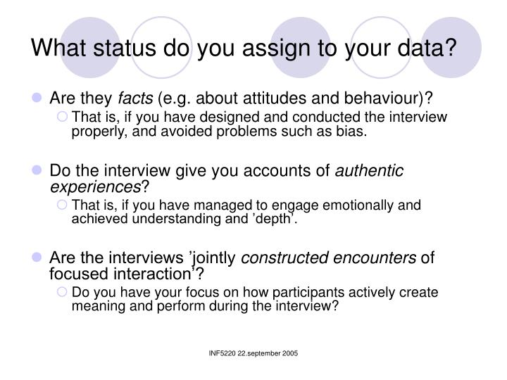 What status do you assign to your data?