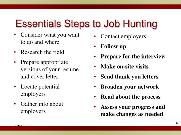 Essentials Steps to Job Hunting