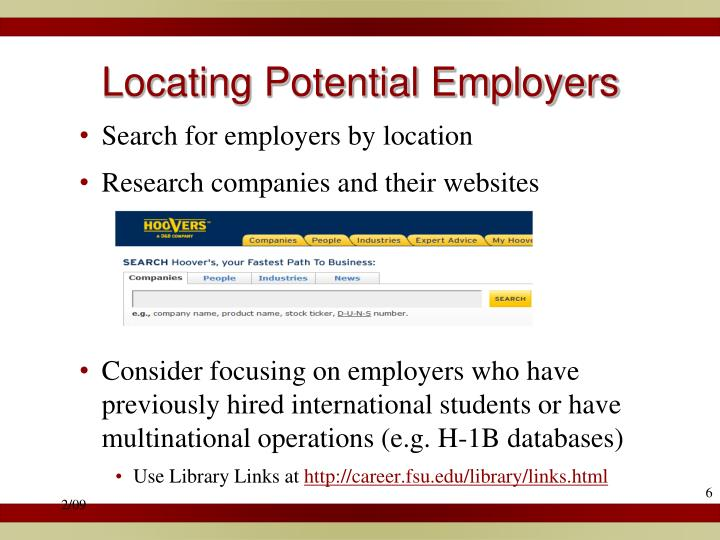 Locating Potential Employers