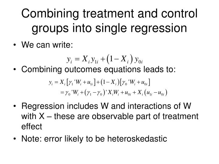 Combining treatment and control groups into single regression