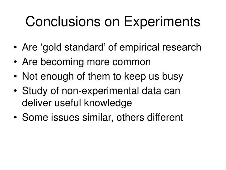 Conclusions on Experiments