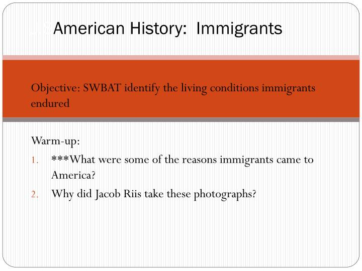 U s american history immigrants