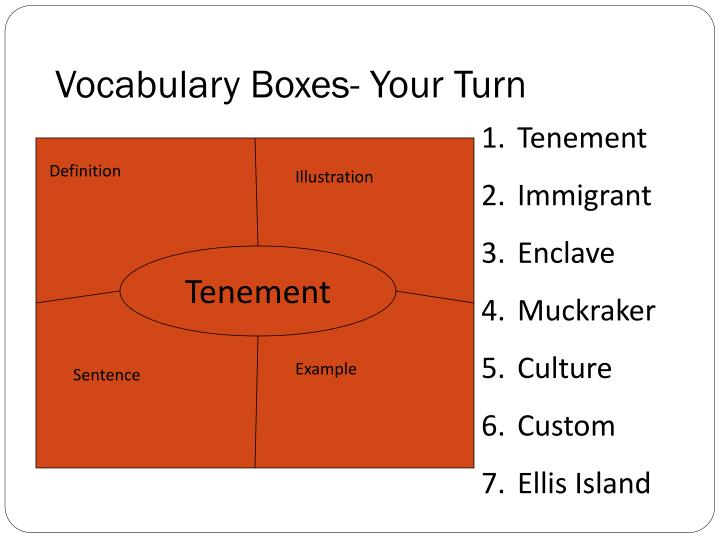 Vocabulary Boxes- Your Turn