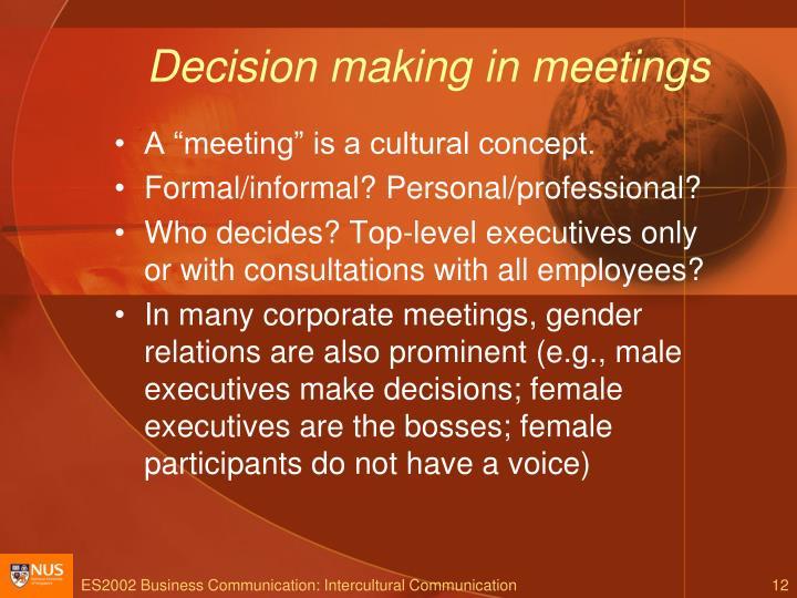 Decision making in meetings
