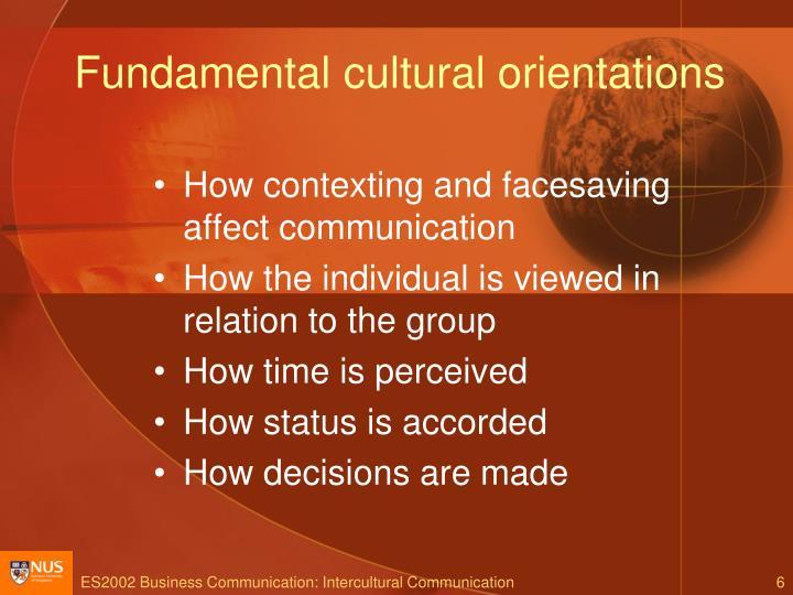 Fundamental cultural orientations