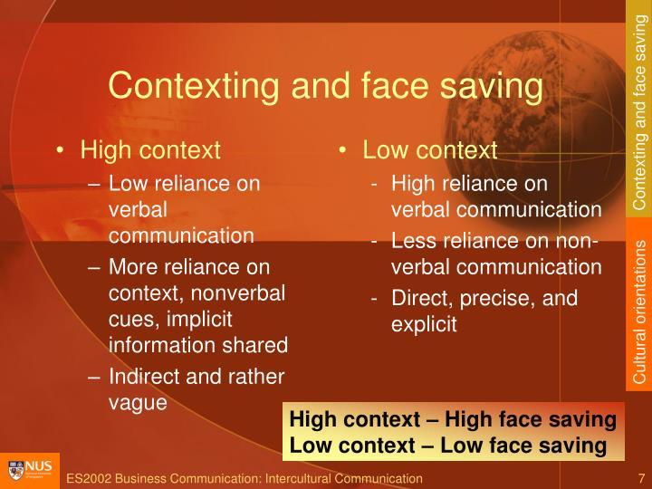 Contexting and face saving