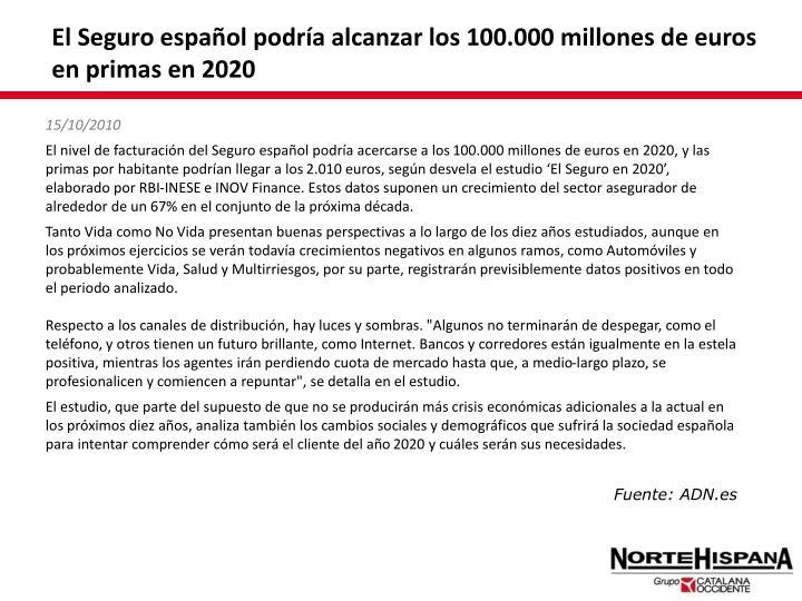 El Seguro español podría alcanzar los 100.000 millones de euros en primas en 2020