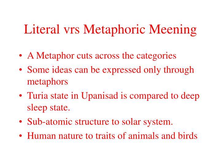 Literal vrs Metaphoric Meening