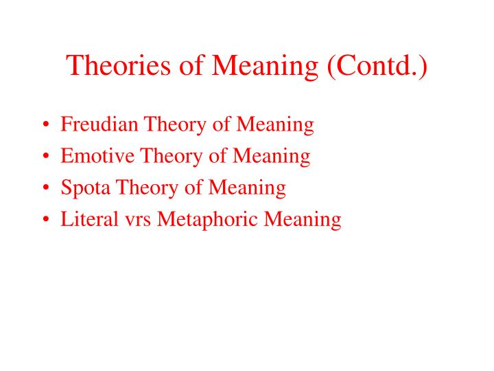 Theories of Meaning (Contd.)