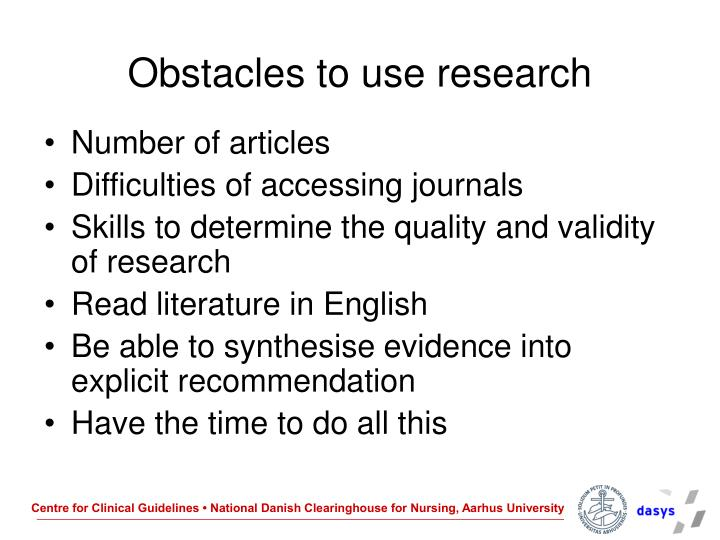 Obstacles to use research