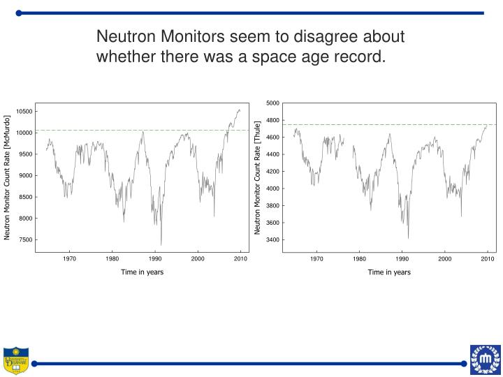 Neutron Monitors seem to disagree about