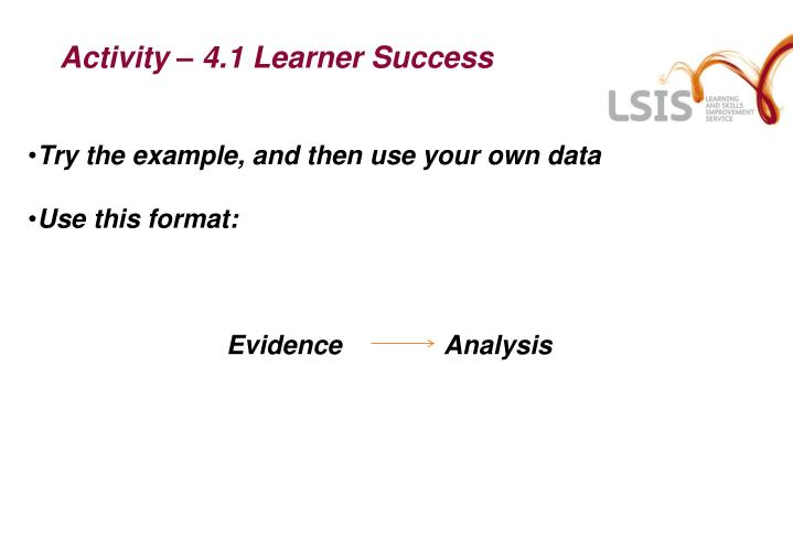 Activity – 4.1 Learner Success