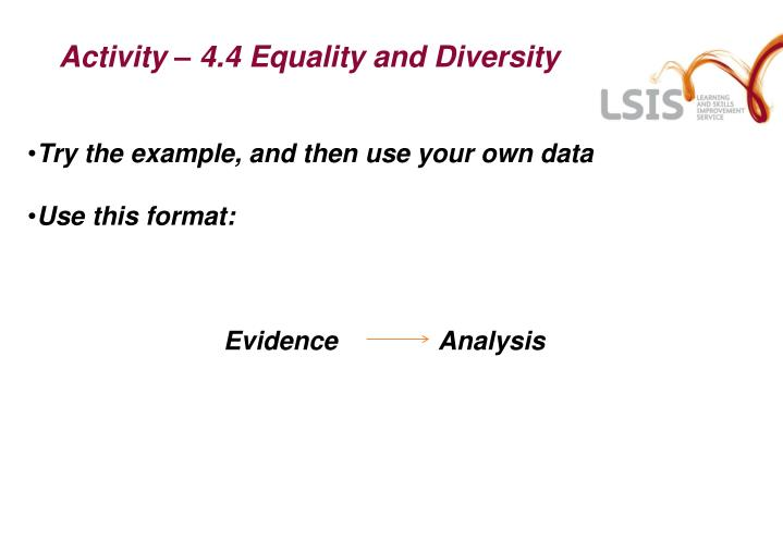 Activity – 4.4 Equality and Diversity