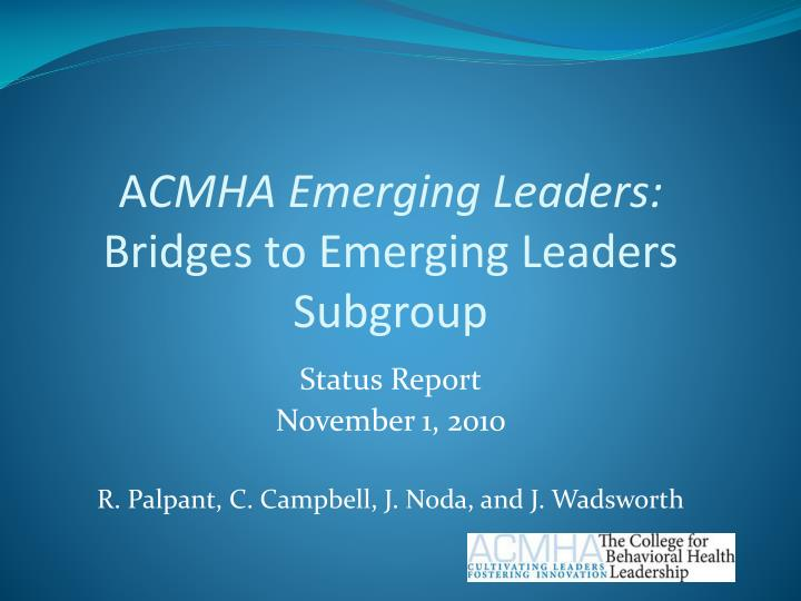 a cmha emerging leaders bridges to emerging leaders subgroup