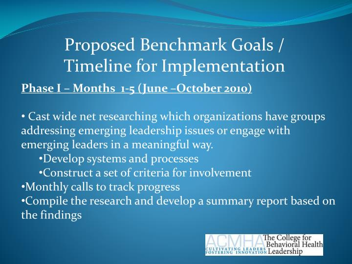 Proposed Benchmark Goals /