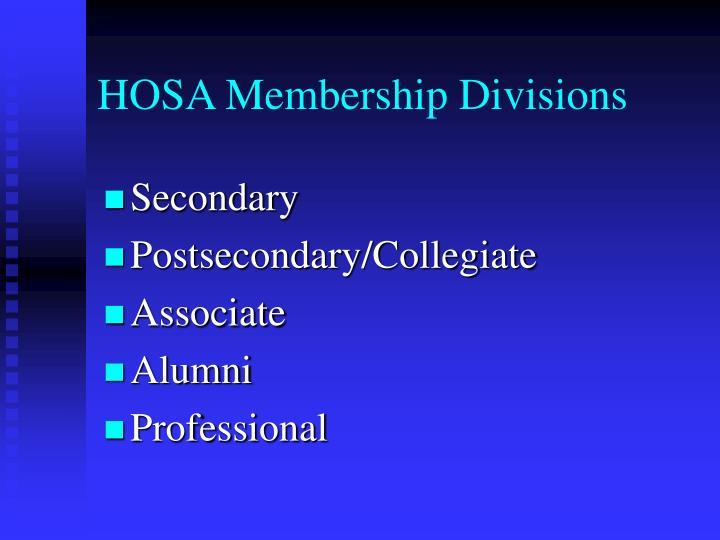 HOSA Membership Divisions