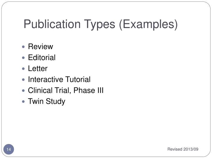 Publication Types (Examples)