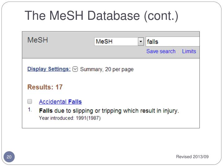 The MeSH Database (cont.)