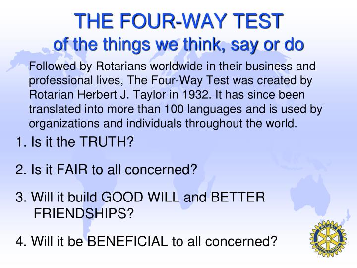 THE FOUR-WAY TEST