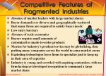 competitive features of fragmented industries