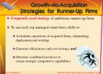 growth via acquisition strategies for runner up firms